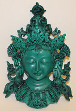 Large Green Tara Buddha Mask, Resin Home Decor, Hand Craved Nepal, CL-205, New