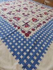 LOVELY VINTAGE 1950'S Startex TABLECLOTH~RED * WHITE* BLUE