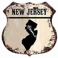 BP0145 HOME NEW JERSEY MAP Shield Rustic Chic Sign Bar Shop Home Decor Gift