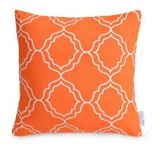 """Orange Geometric Cushion Cover Bright Moroccan Lattice Pillow 100% Cotton 16"""""""
