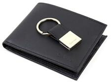 NEW CALVIN KLEIN CK MEN'S LEATHER BIFOLD ID WALLET KEY CHAIN SET BLACK 79025