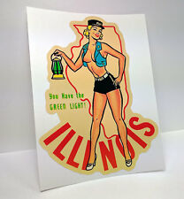 Illinois Pinup Vintage Style Decal / Vinyl Sticker, Luggage Label, Railroad