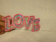 2 pink love sequin applique embroidered sew on iron on letter motif patch uk