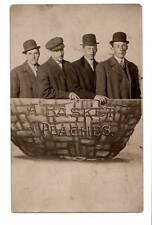 "RPPC""A basket of peaches""4 men bowler hats Du Val's Ten Minute Photo's Flint Mi#"