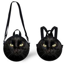Black Cat Round Messenger Shoulder Bag Handbag Purse Kids Backpack Two Way Use