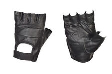 Leather Fingerless Mens Weight Training Gloves Cycling Wheelchair Medium Black