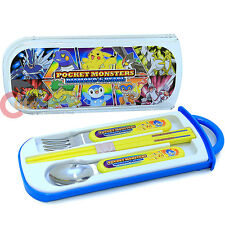Nintendo Pokemon Silverware Set Spoon Fork Chopstick 4pc Set with Case