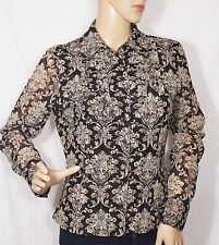 INC Brown Floral Spark Lace Button Down Long Sleeve Blouse Lined Size PM
