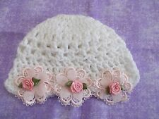 Handmade Crochet Baby Girl Hat Set White/ Pink  Newborn 3 Months