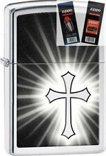 Zippo 29074 shining religious cross Lighter with *FLINT & WICK GIFT SET*