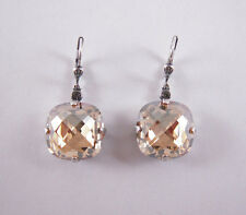 Catherine Popesco Silver X-Large Champagne Swarovski Crystals Earrings