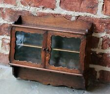 Antique English Carved Oak PETITE Wall Hanging Display Cabinet Shelf Spice Rack