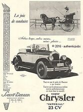 PUBLICITE AUTOMOBILE CHRYSLER ROADSTER IMPERIAL 23 CV CALECHE DE 1926 FRENCH AD