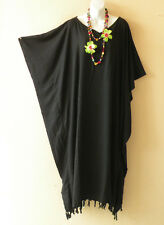 Black Plain Batik Kaftan Caftan Batwing Maternity Dolman Maxi Dress 2X to 5X