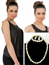 New Cultured Natural Freshwater White Pearl Set Prom Bridal Bridesmaid Jewelry