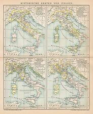 B6293 Carte soriche dell'ITALIA - Carta geografica antica del 1902 - Old map