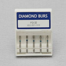 5pcs Dental Diamond Flame Ogival End burs FO-32 FG1.6mm fit High Speed Handpiece