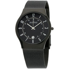 Skagen Black Dial Titanium Stainless Steel Band Men's Watch 233XLTMB