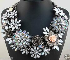 New Design lady Statement flower crystal chunky pendant charm necklace 1107