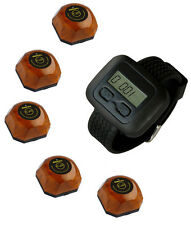 SINGCALL Wireless Hotel Paging Systems,1 Watch with 5 Wood Waiter Button Pagers