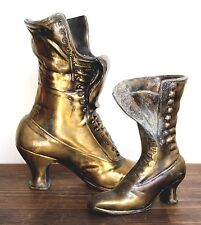 "2 pc VTG BRONZE CAST IRON VICTORIAN BOOTS SHOES GARDEN DECOR PLANTER VASE 9.5"" T"