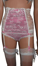 Lace Suspender Belt / Waspie Set with High Waist and Boned to Front + Knickers