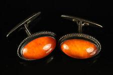 Natural Antique 11.34gr Butterscotch Baltic Amber Stone Silver Cufflinks A584