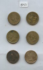 Six CN Indian Cents (#4871) Readable Dates and Bad Problems. Carefully Check out
