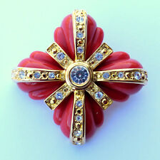 Gorgeous JOAN RIVERS Terra Cotta Crystal Maltese Cross Gold Tone Brooch Pin