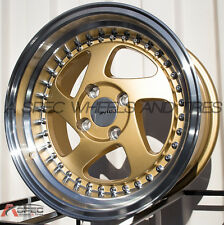 "15X8.5 +17 AVID.1 AV-19 4X100 GOLD MACHINED DIRECTIONAL WHEEL 3"" LIP RIMS JDM"