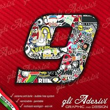 Adesivo Stickers NUMERO 9 moto auto cross gara STICKER BOMB 5 cm