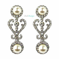 Silver Crystal Diamante & Pearl Drop Vintage Heart Bridal Wedding Earrings