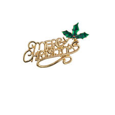 Lux Accessories Holiday Gold Tone Merry Christmas Xmas Festive Brooch Pin