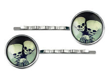 Conjoined Twins Skeleton Fetus Freak Side Show Oddity Silver Glass Hair Clips