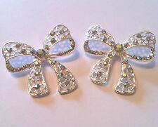 2 x Butterfly Bow Button Crystal Rhinestone AB Bridal Wedding Shoes Shank 40mm