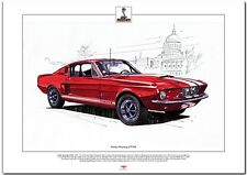 Ford Shelby Mustang GT350-Fine Art Print A3 Talla 1967 Classic V8 coche del músculo