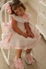 Nuevos zapatos arco rosado poco Darling Chica entrenador Hi High Top Bota de lona 7 7.5 25
