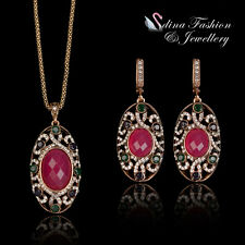 18K Rose Gold Plated Simulated Crystal & CZ Vintage Set Fashion Jewellery