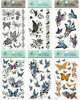 Butterfly Mix Red Blue Yellow Pink Black Orange Green Sexy Temporary Tattoos
