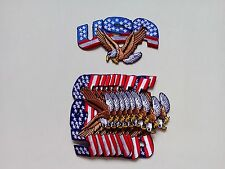 """10 USA/Eagle Flag Biker Embroidered Patches 4.25""""x2.25"""""""
