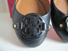 NIB $235 Tory Burch Mini Miller Ballet Flat Shoes Black Leather  sz 7.5