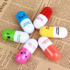 6Pcs Cute Face Pill Ball Point Pen Telescopic Vitamin Capsule Ballpen Stationery