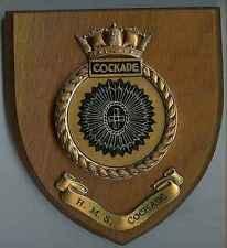 Dunfermline: PIASTRA muro: Navy: HMS cockade. 18 cm KS su legno .1 pezzo