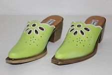 Diane Gilman Womens 6 M Lime Green White Leather Floral Heels Mules Clogs NEW