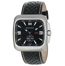 Gucci Men's YA131302 Gucci Coupé Black Leather Watch