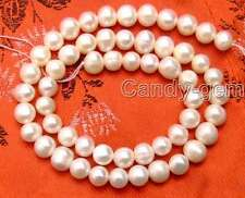 """SALE 7-8mm White Natural Freshwater pearl Loose Beads 14""""-los38 Free shipping"""