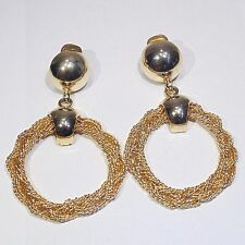 Vintage c. 1960s-1970s huge doorknocker hoop clip earrings, gold tone chain mesh