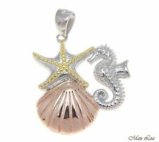 925 Silver Tricolor Hawaiian Sealife Starfish Seahorse Sunrise Shell Pendant