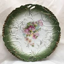 VINTAGE PORCELAIN HAND PAINTED  EMBOSSED FLOWERS DECORATIVE PLATE