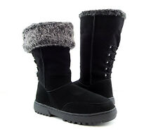 NWOB Rampage Black Gray Fur Lined Tall Fold-Over Mid Calf Ankle Boots 6 M (S700)